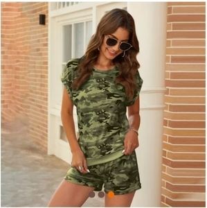 NEW! Camo Fatigue Army Green Shorts Set